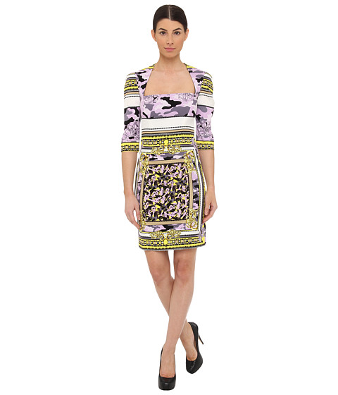 Versace Collection Mixed Print Fitted Dress (Giallo Limone/Stampa) Women's Dress