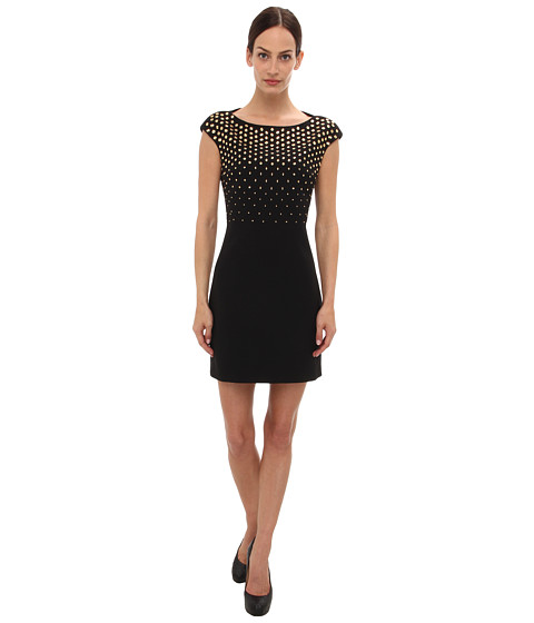 Versace Collection Studded Cap Sleeve Dress (Nero) Women's Dress