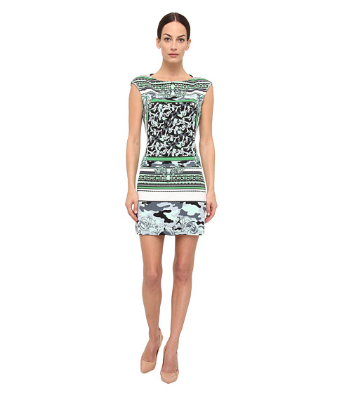 Versace Collection - Mixed Print Jersey Dress (Verde Prato/Stampa) Women's Dress