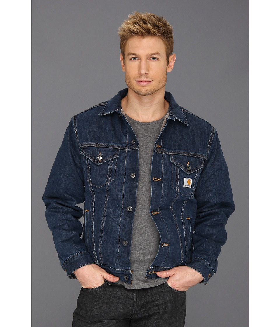Carhartt - Big Tall Sherpa Lined Denim Jean Jacket (Authentic Blue) Men's Coat