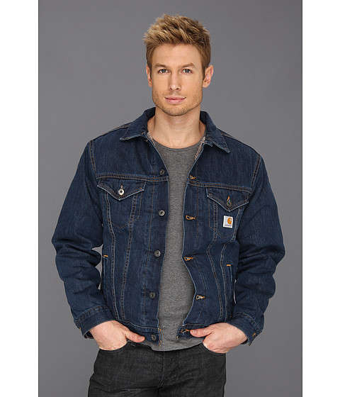 Carhartt - Big Tall Sherpa Lined Denim Jean Jacket (Authentic Blue) Men