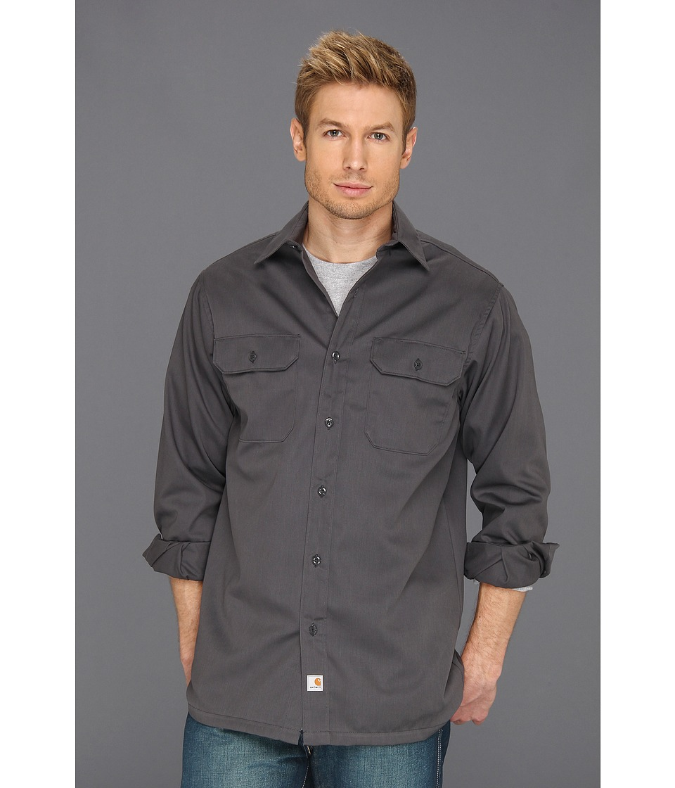 Carhartt - Twill L/S Work Shirt (Dark Gray) Men's Clothing