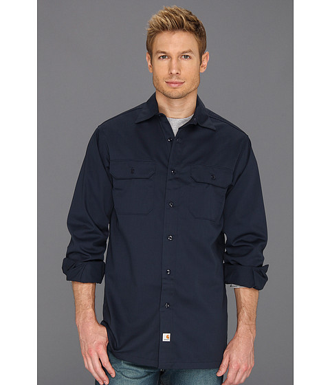 Carhartt - Twill L/S Work Shirt (Navy) Men's Clothing