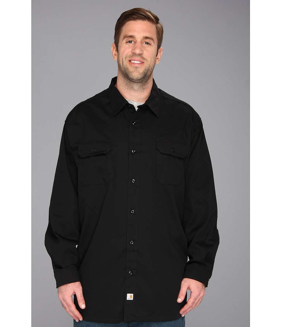 Carhartt - Big Tall Twill L/S Work Shirt (Black) Men's Long Sleeve Button Up