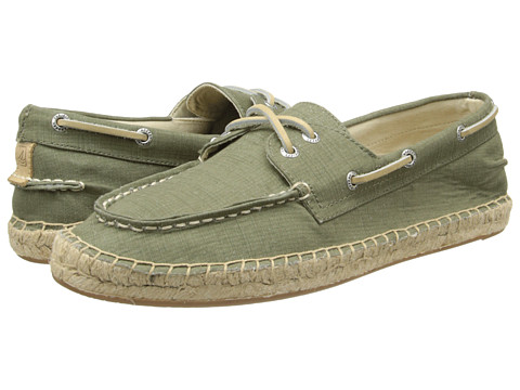 Sperry Top-Sider - Espadrille 2-Eye Canvas (Olive) Men's Lace Up Moc Toe Shoes