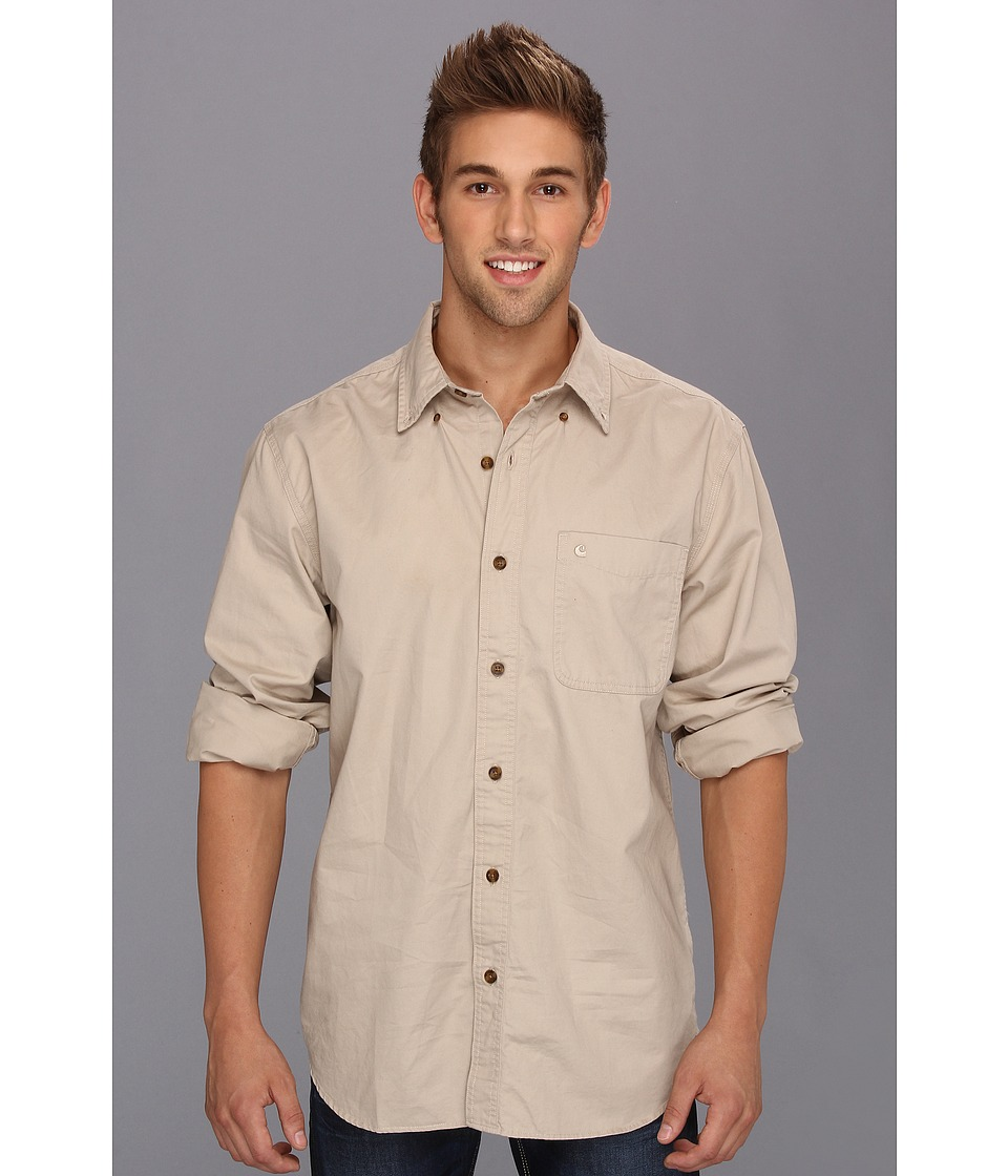 Carhartt - Hines Solid L/S Shirt (Stone) Men's Long Sleeve Button Up