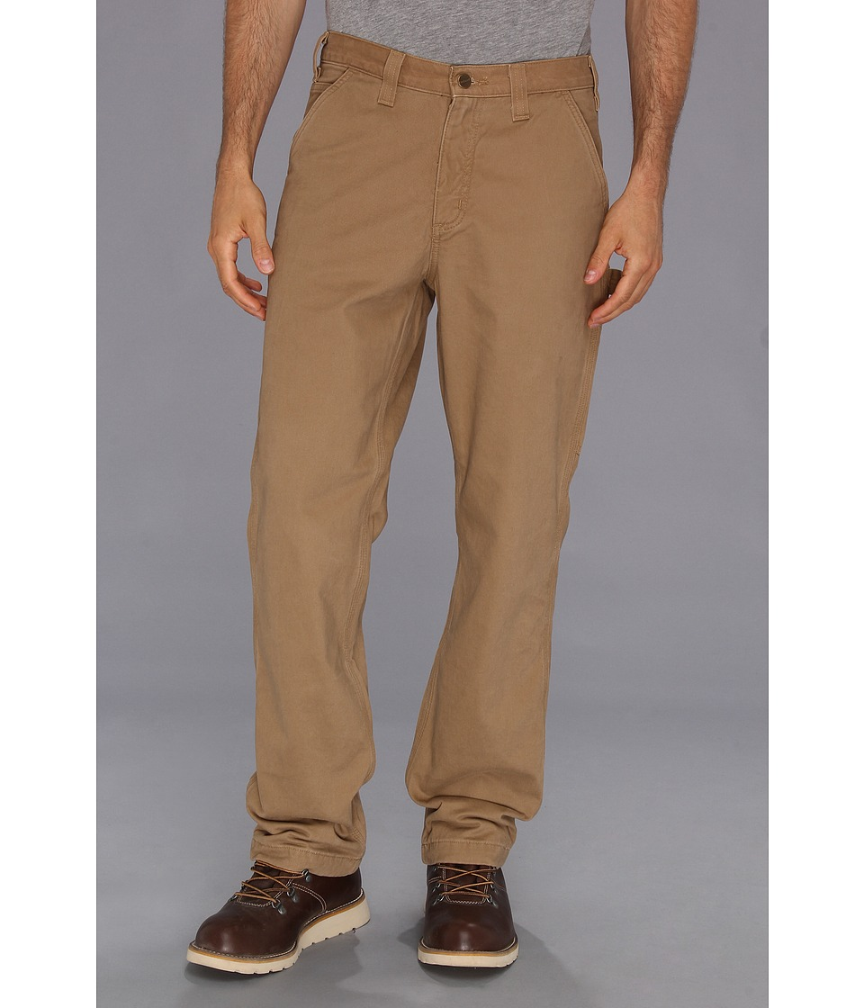 Carhartt - Washed Twill Dungaree Flannel Lined Pant (Dark Khaki) Men's Casual Pants