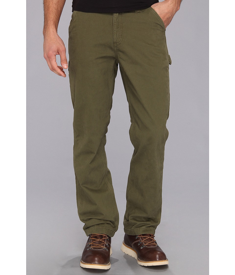Carhartt - Washed Twill Dungaree Flannel Lined Pant (Army Green) Men's Casual Pants
