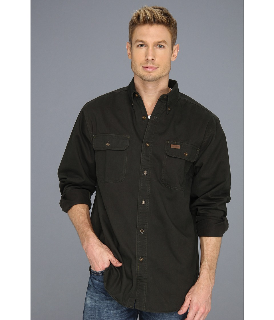 Carhartt - Sandstone Oakman Work Shirt (Moss) Men's Short Sleeve Button Up