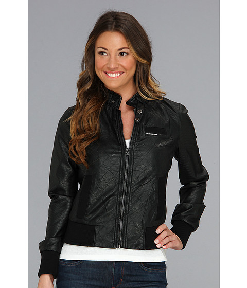 Members Only - Quilted PU Racer Jacket w/ Snake Panels (Black) Women