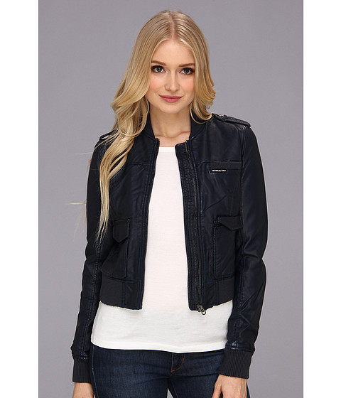 Members Only - Shrunken PU Bomber Jacket (Navy) Women's Jacket