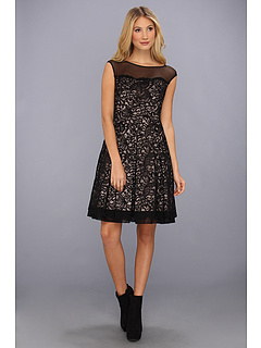 SALE! $54.99 - Save $123 on Eliza J Extended Cap Party Dress W Yoke Illusion (Black) Apparel - 69.11% OFF $178.00