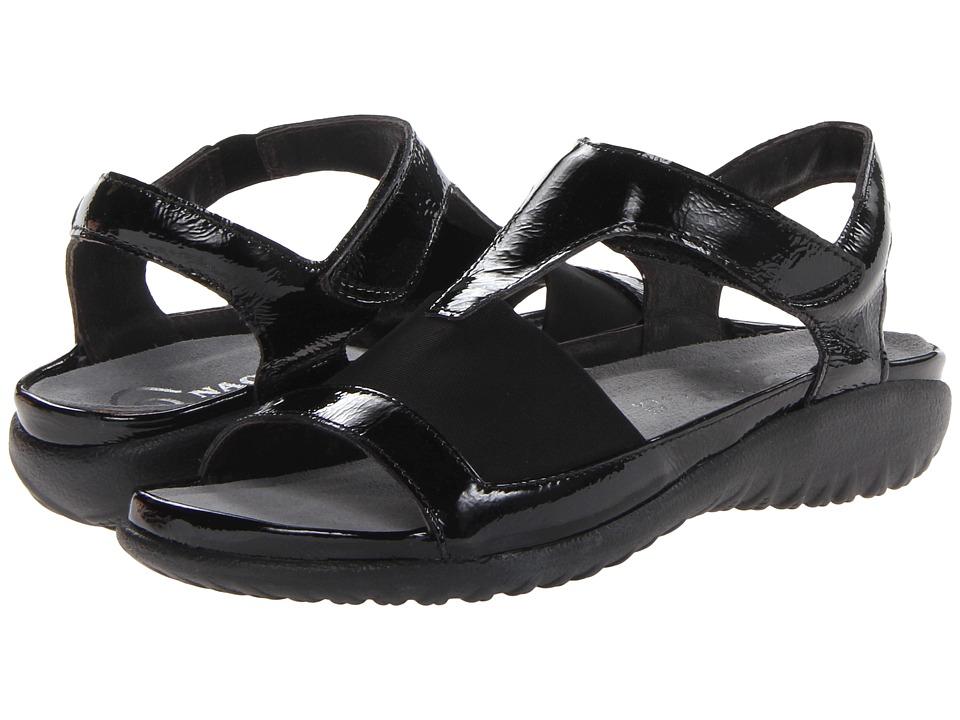 Naot Marama (Black Crinkle Patent Leather/Black Stretch) Women