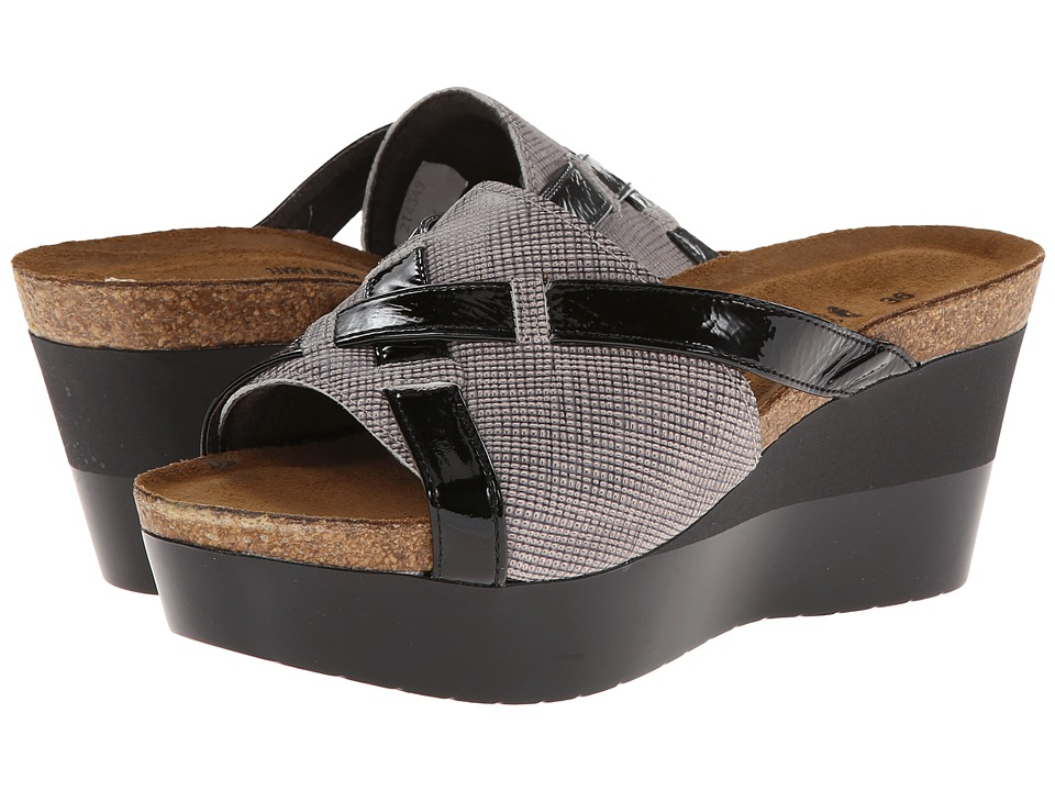 Naot Footwear Eve (Fishnet Leather/Black Crinkle Patent Leather) Women