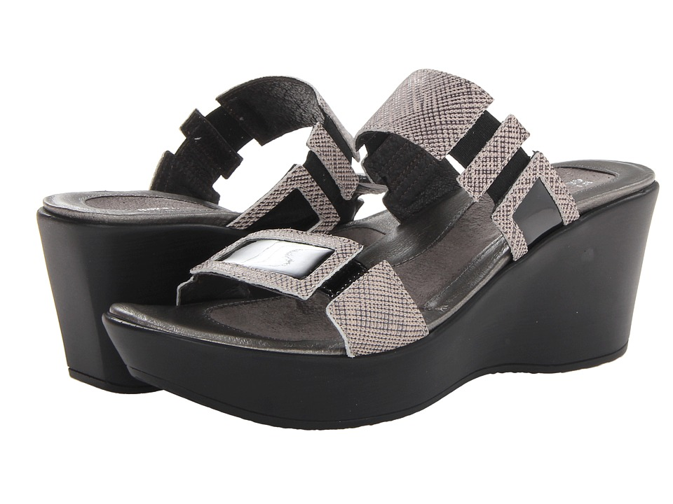 Naot - Treasure (Fishnet Leather/Black Patent Leather) Women's Wedge Shoes
