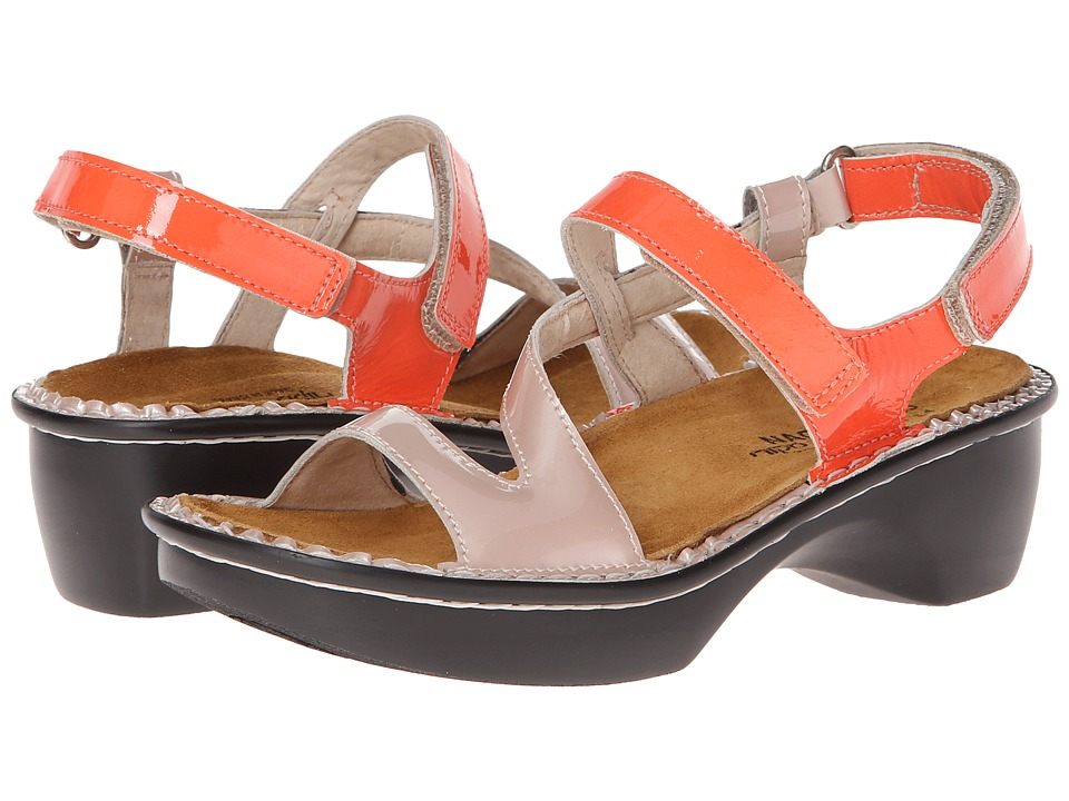 Naot Footwear - Tuscany (Coral Patent Leather/Satin Beige Patent Leather) Women's Clog/Mule Shoes