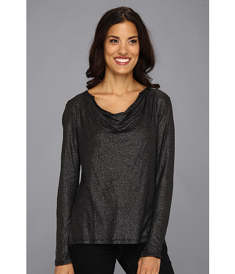 NYDJ - Foil V-Neck Top (Gunmetal) Women's Long Sleeve Pullover