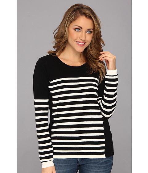 NYDJ - Striped Color Block Sweater (Black/White) Women's Sweater