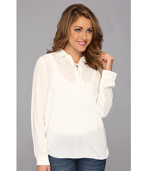 NYDJ - Lace Front Blouse (White) Women's Blouse