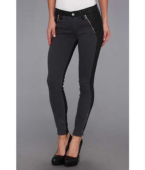7 For All Mankind - Fashion Zipped Skinny in Grey Sateen w/ Jeather (Grey Sateen w/ Jeather) Women