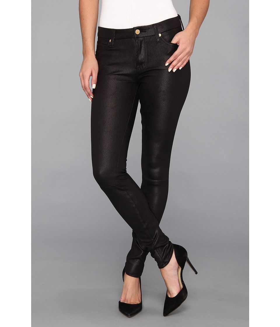 7 For All Mankind - The Knee Seam Skinny w/ Contoured Waistband in Crackle Leather-Like Black (Black) Women