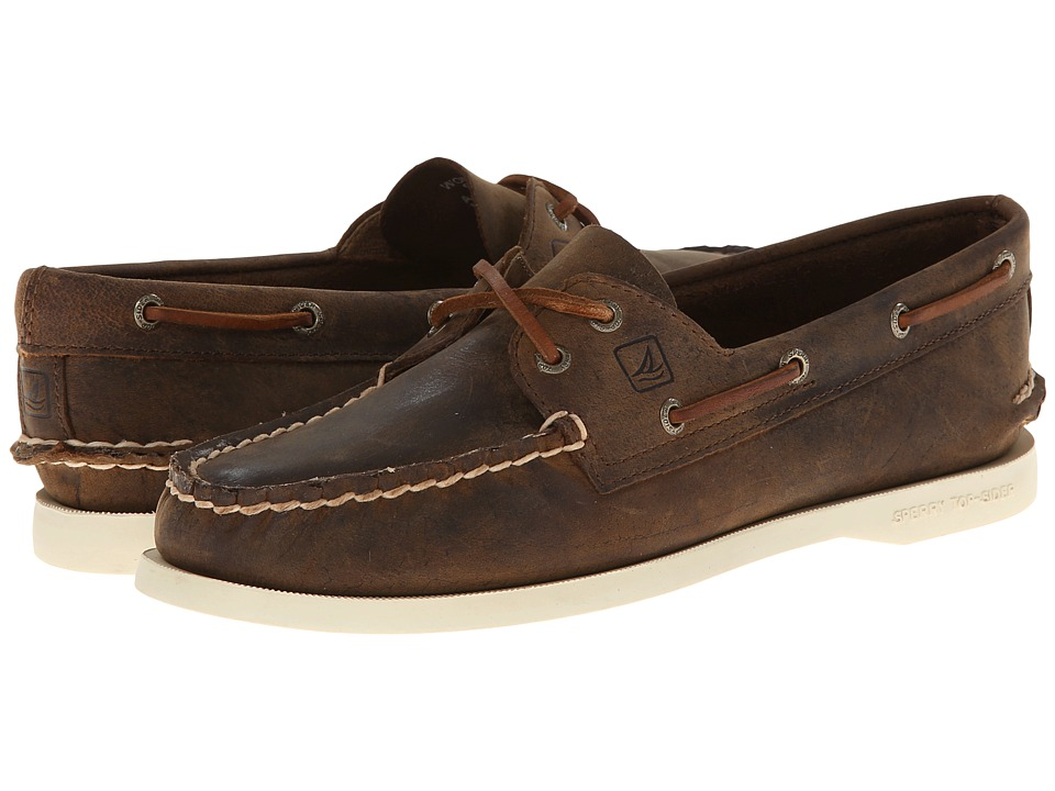 Sperry - A/O 2 Eye (Brown Distressed) Women's Slip on Shoes