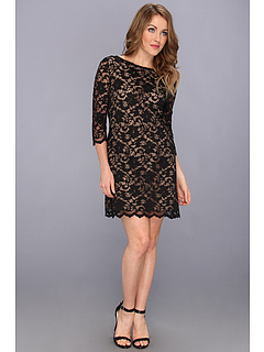 SALE! $76.99 - Save $91 on Michael Stars Scallop Lace 3 4 Sleeves Boatneck Dress (Black Nude) Apparel - 54.17% OFF $168.00