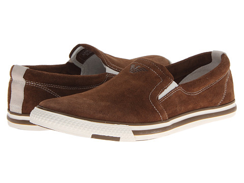 Armani Jeans Suede Slip On (Brown) Men's Slip on  Shoes