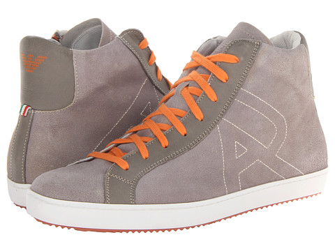 Armani Jeans Washed Leather High Top (Grey) Men's Lace-up Boots