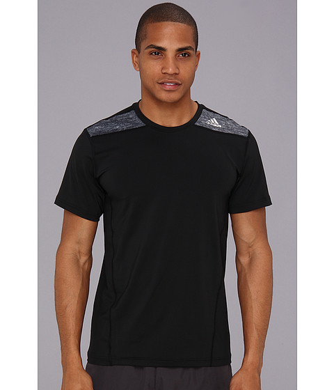 adidas - TECHFIT Fitted Short-Sleeve Tee (Black/Dark Grey Heather) Men