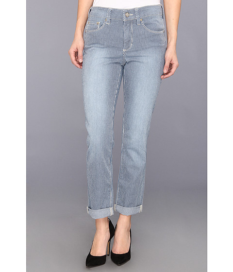 NYDJ Petite - Petite Leann Boyfriend Roll Cuff in Old West Wash Stripe (Old West Wash Stripe) Women's Jeans