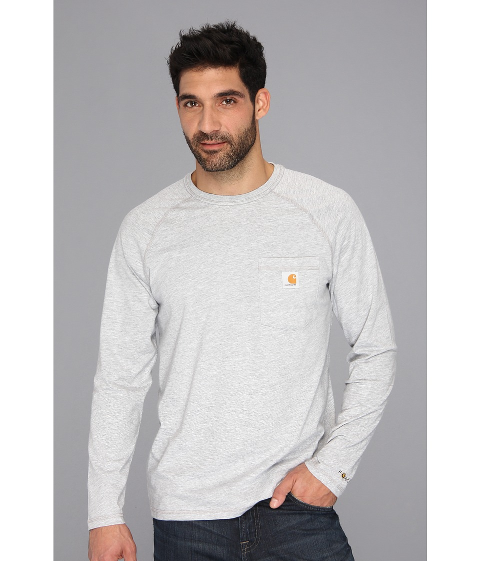 Carhartt - Force Cotton Delmont Long-Sleeve T-Shirt (Heather Gray) Men's T Shirt
