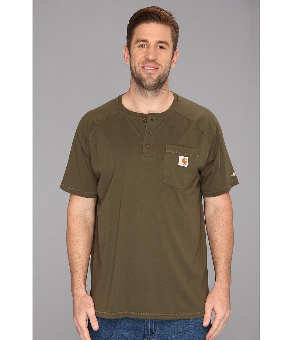 Carhartt - Big Tall Force Cotton S/S Henley (Moss) Men's Short Sleeve Pullover