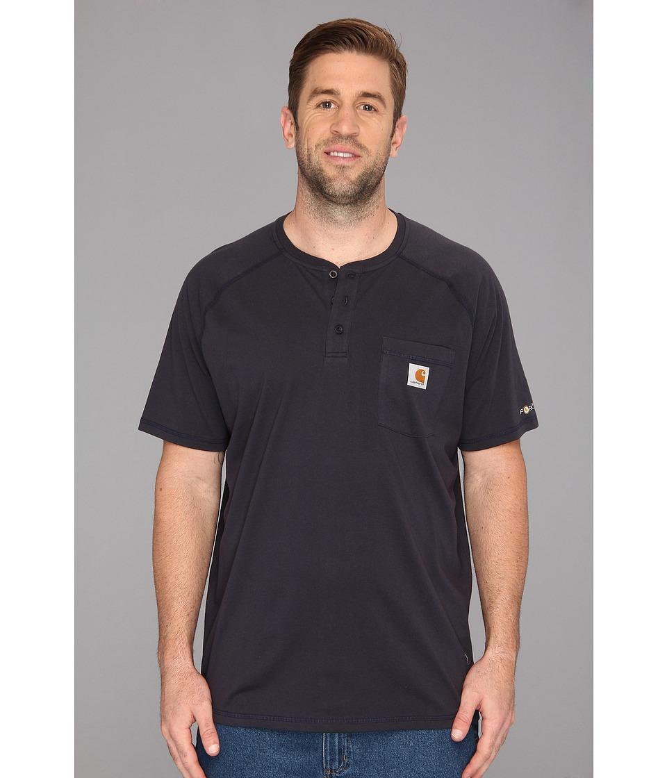 Carhartt - Big Tall Force Cotton S/S Henley (Navy) Men's Short Sleeve Pullover