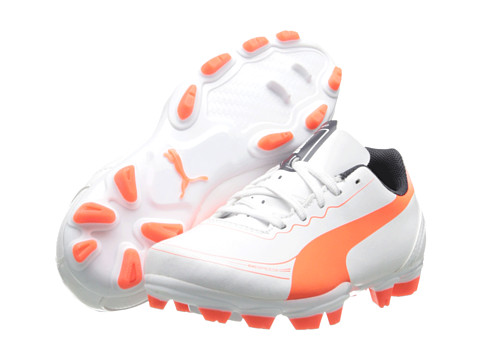 Puma Kids - evoSPEED 5.2 FG Jr (Little Kid/Big Kid) (White/Fluro Peach/Ombre Blue) Kids Shoes
