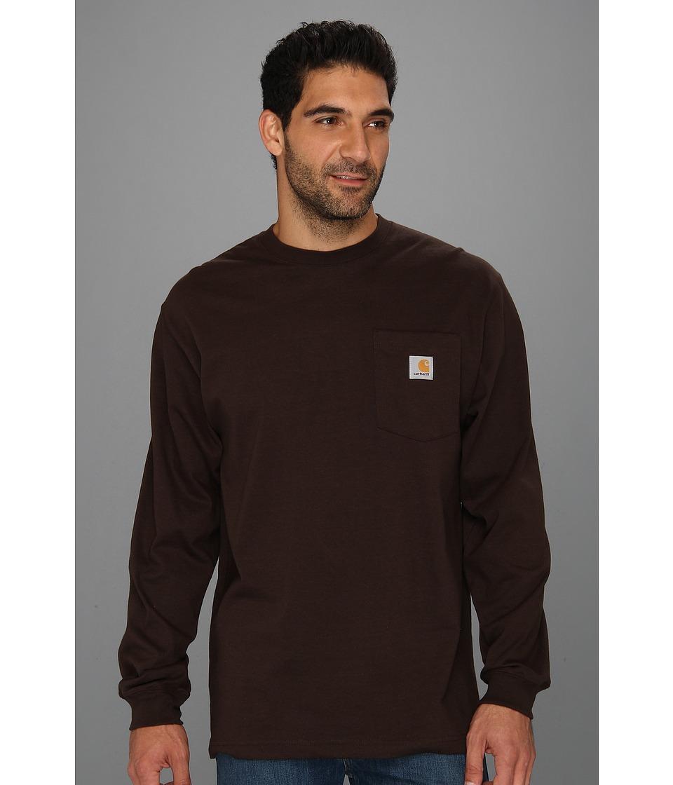 Carhartt - Workwear Pocket L/S Tee (Dark Brown) Men's Long Sleeve Pullover
