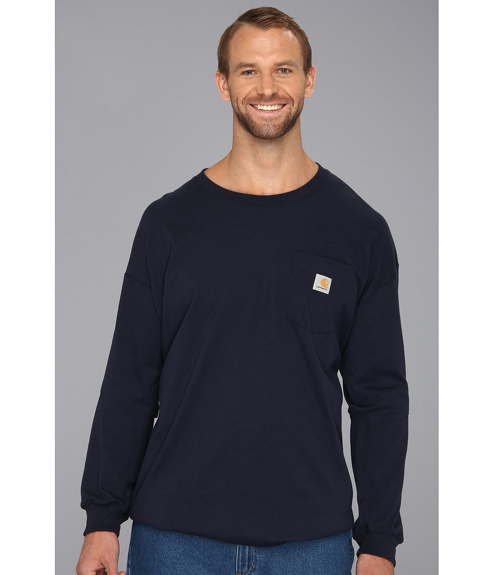 Carhartt - Big Tall Workwear Pocket L/S Tee (Navy) Men's T Shirt