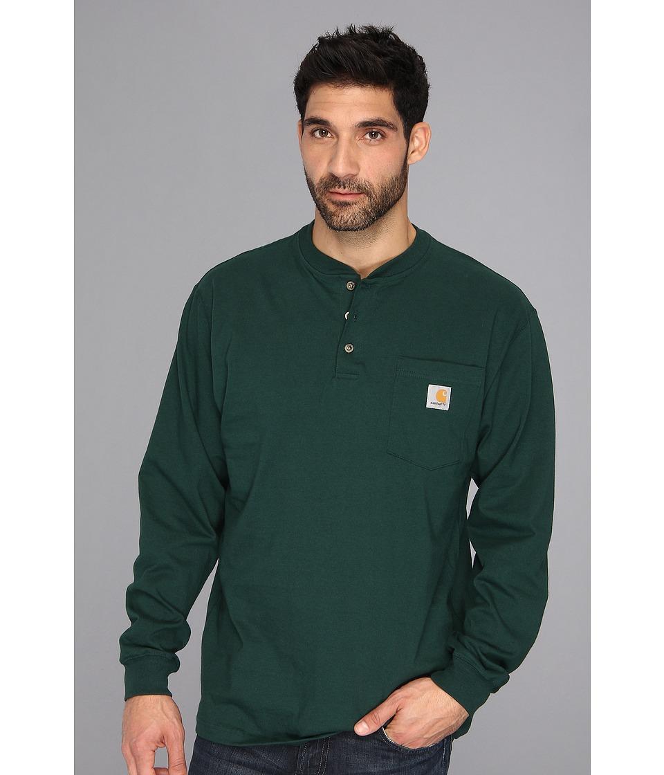 Carhartt - Workwear Pocket L/S Henley (Hunter Green) Men's Long Sleeve Pullover