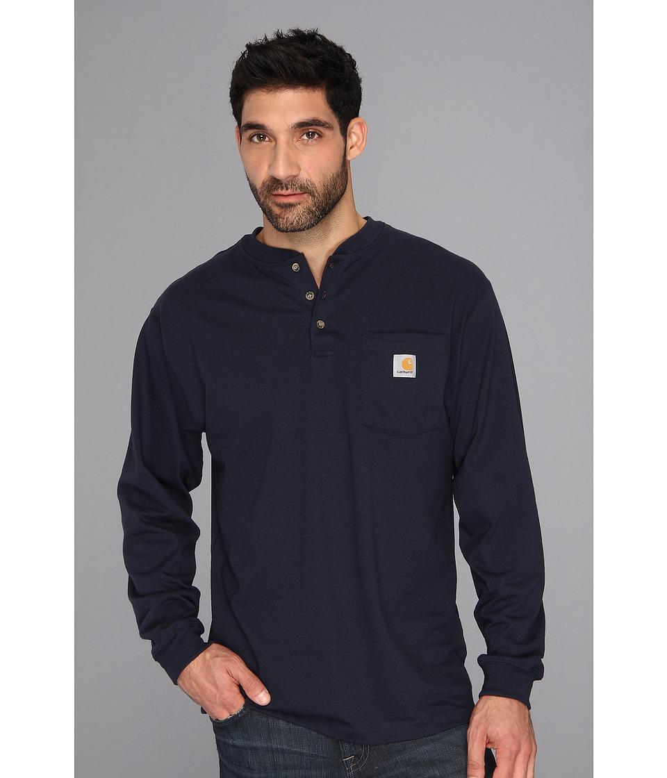 Carhartt - Workwear Pocket L/S Henley (Navy) Men's Long Sleeve Pullover