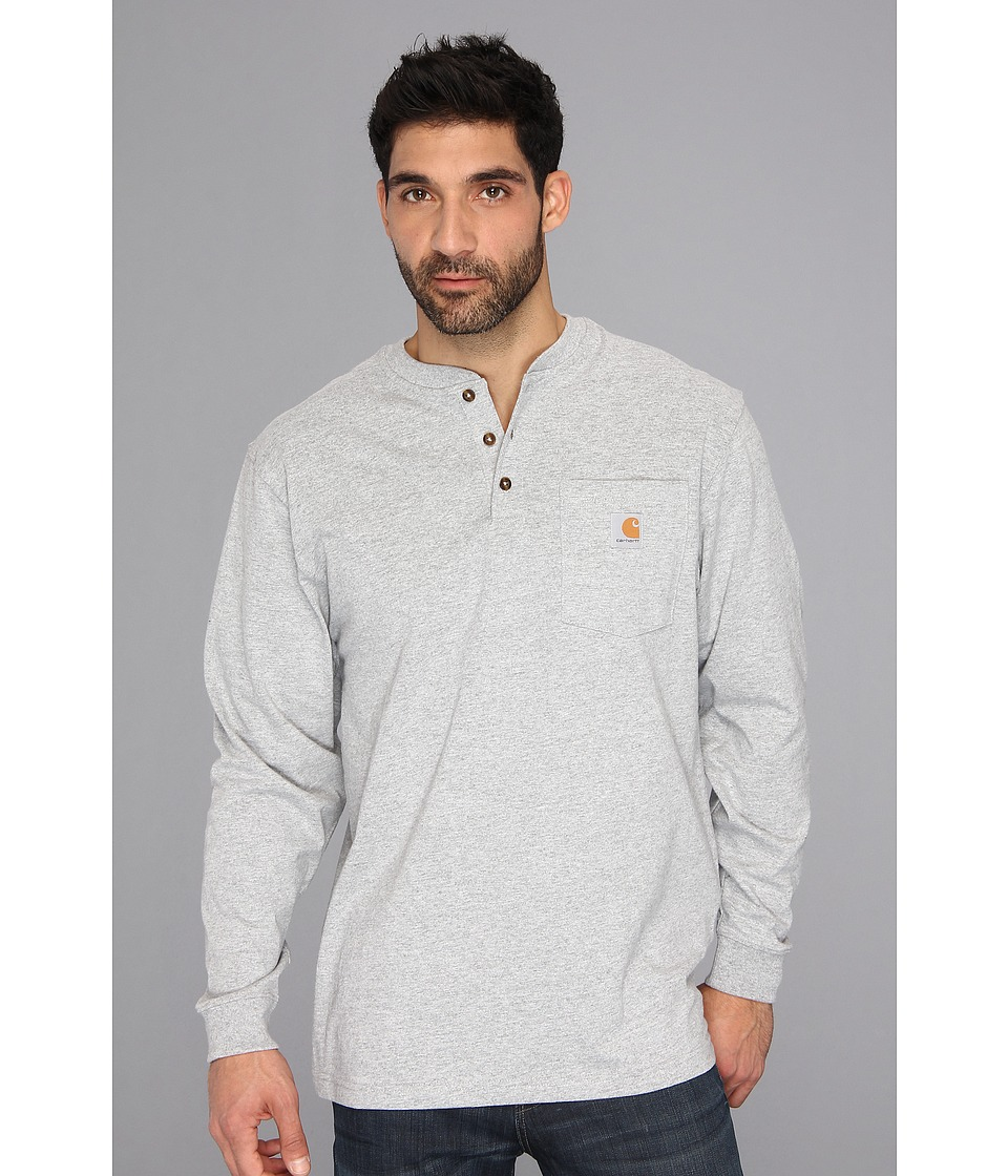 Carhartt - Workwear Pocket L/S Henley (Heather Gray) Men's Long Sleeve Pullover