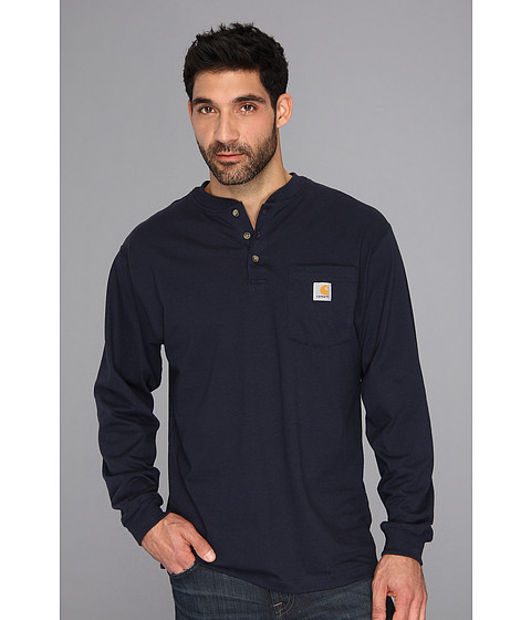 Carhartt - Big Tall Workwear Pocket L/S Henley (Navy) Men