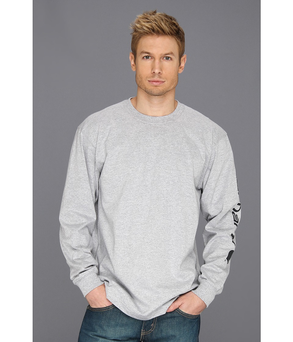 Carhartt - Signature Sleeve Logo L/S Tee (Heather Gray) Men's T Shirt