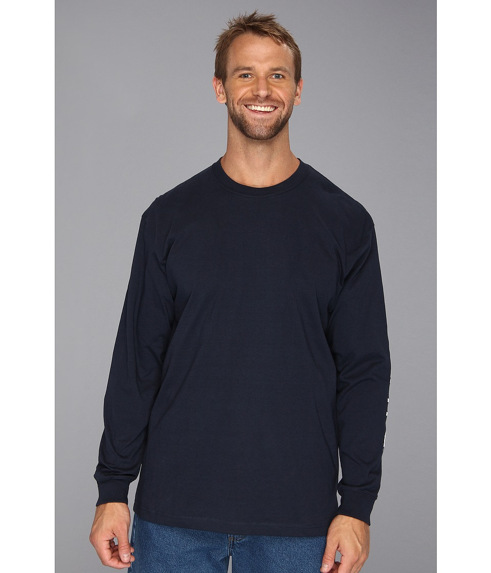 Carhartt - Signature Sleeve Logo L/S Tee (Navy) Men's T Shirt