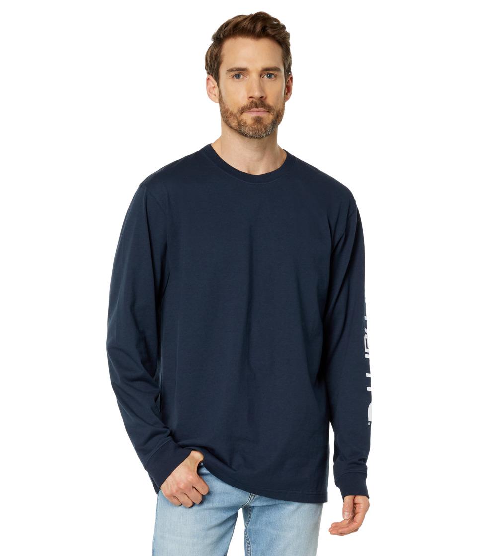 Carhartt - Signature Sleeve Logo L/S Tee (Navy) Men's T Shirt