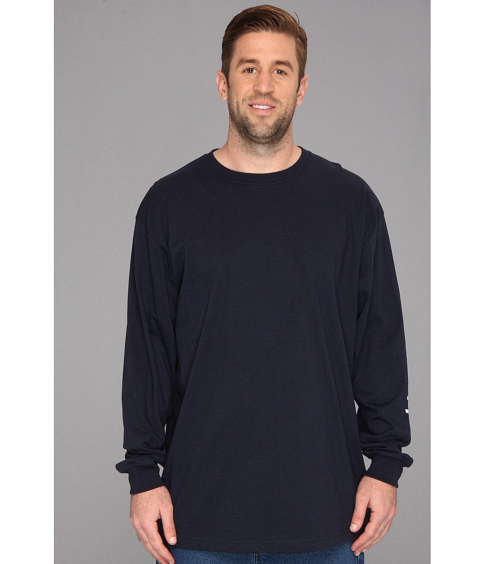 Carhartt - Big Tall Signature Sleeve Logo L/S Tee (Navy) Men's T Shirt