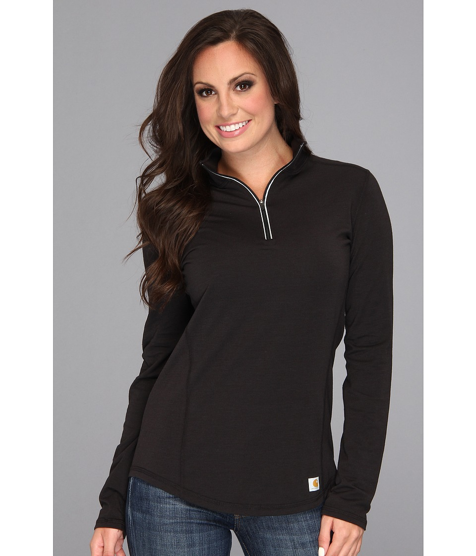 Carhartt - Force Quarter Zip Shirt (Black) Women's Long Sleeve Pullover
