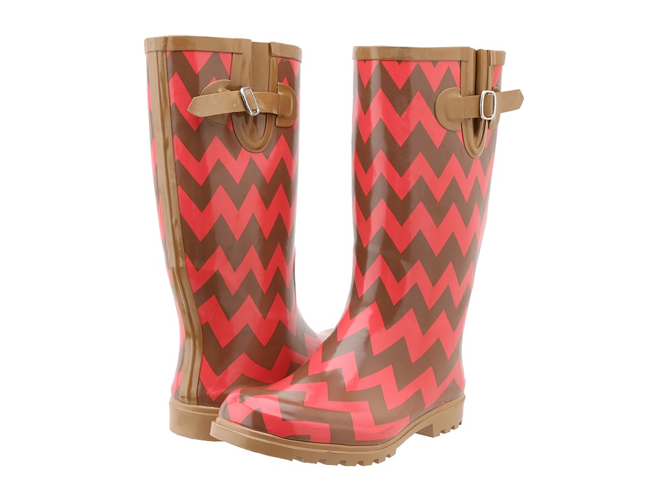 NOMAD - Puddles (Brown/Coral Chevron) Women's Rain Boots