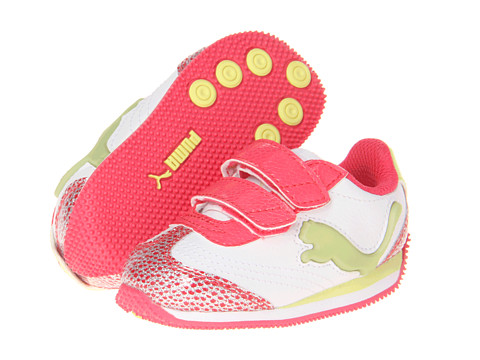 Puma Kids - Speeder Illum Glamm V (Toddler/Little Kid/Big Kid) (White/Paradise Pink/Sunny lime) Girl