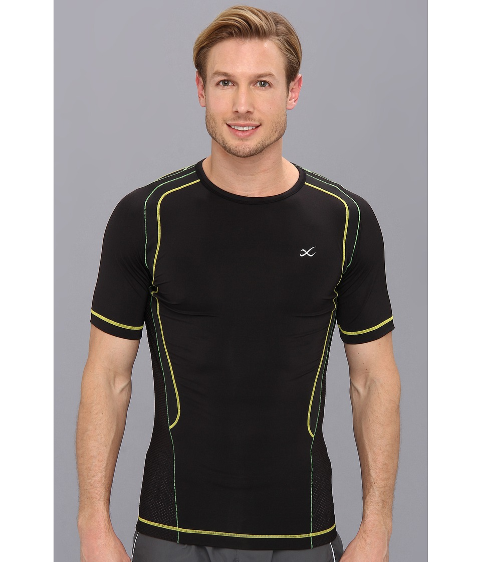 CW-X - S/S Ventilator Web Top (Black/Green/Yellow) Men's Short Sleeve Pullover