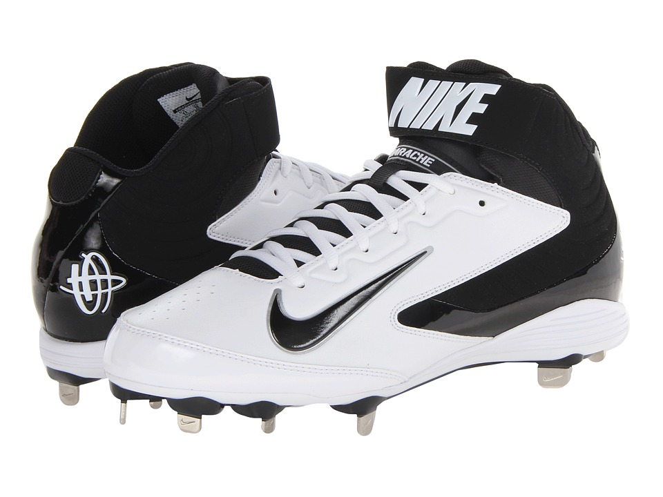 Nike - Huarache Strike Mid Metal (White/Black) Men's Cleated Shoes